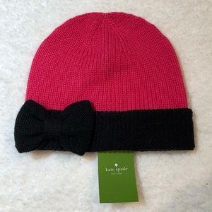 Kate Spade Fine Gauge Jersey Bow Cuff Winter Hat